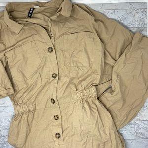 NWOT H&M Tan Button Down Utility Jumpsuit Size 10